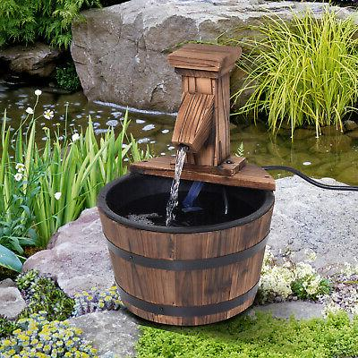 barrel water fountain garden decor metal rustic