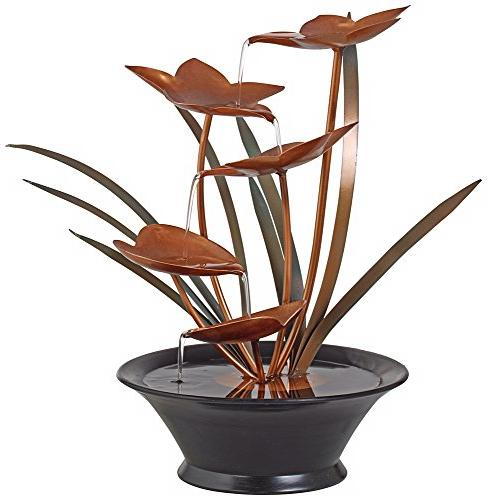 "Bloomfield Copper Flower 13"" High Fountain"