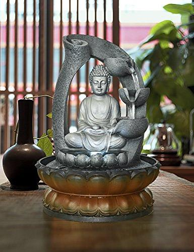 11in Buddha Fountain Home&Office Decoration, Decorative with Light&Circular Flow for Good Luck Keeping