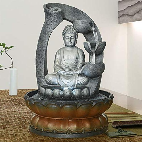YQich Buddha Sculpture Water Decorative Cascade with LED Home