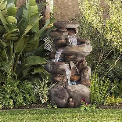 Alpine Corporation 4-tier Rock Water Fountain with LED Grey