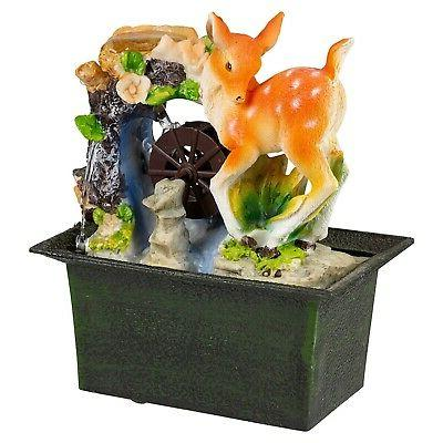 deer foal waterfall water fountain calming feng