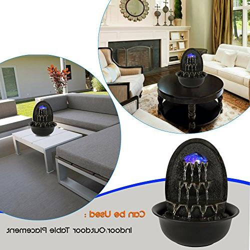 SereneLife Desktop Electric Water Fountain Decor Illuminated Ball Accent - Indoor Portable Tabletop Includes Submersible Pump 12V Adapter