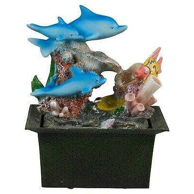 dolphins waterfall water fountain calming feng shui
