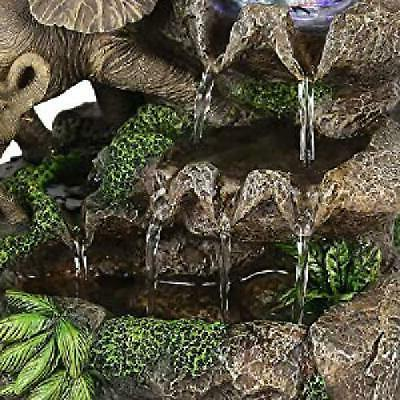 Elephant Table Landscape Water Fountain LED