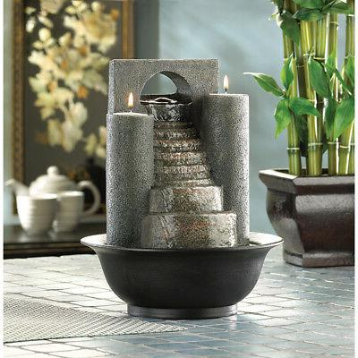 ETERNAL STEPS TABLETOP WATER & FIRE FOUNTAIN TEALIGHT CANDLE