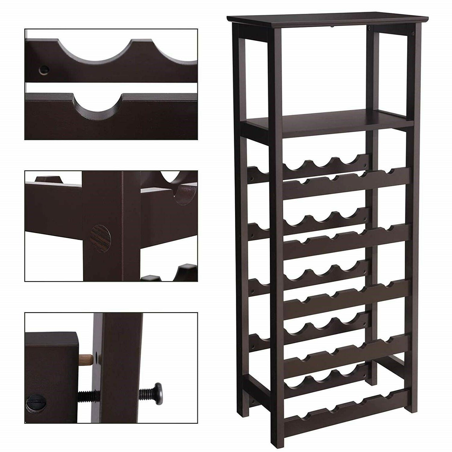 Floor Standing Wine Modern Wood Bottle Holder Storage