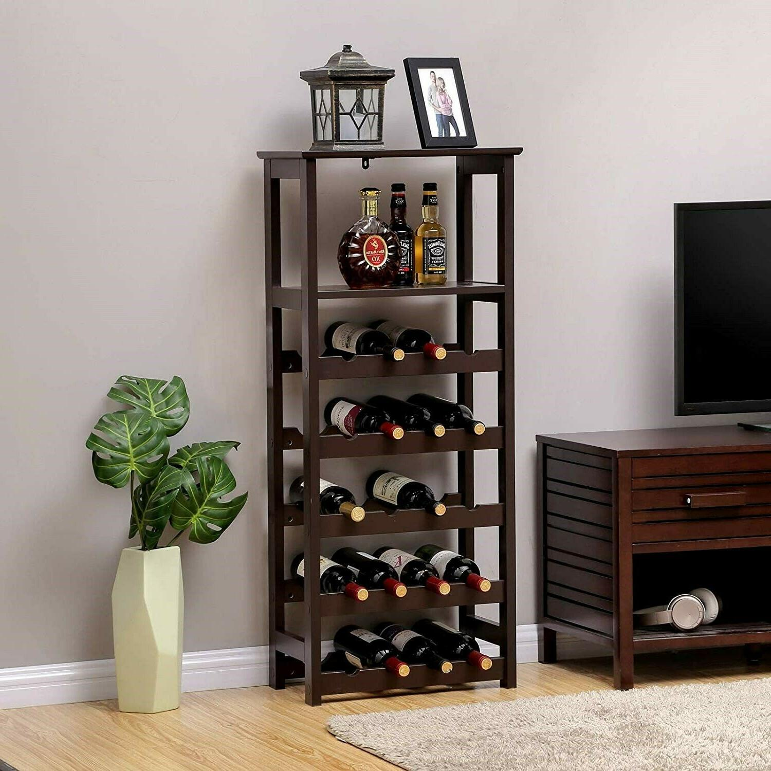 floor standing wine rack modern wood bottle