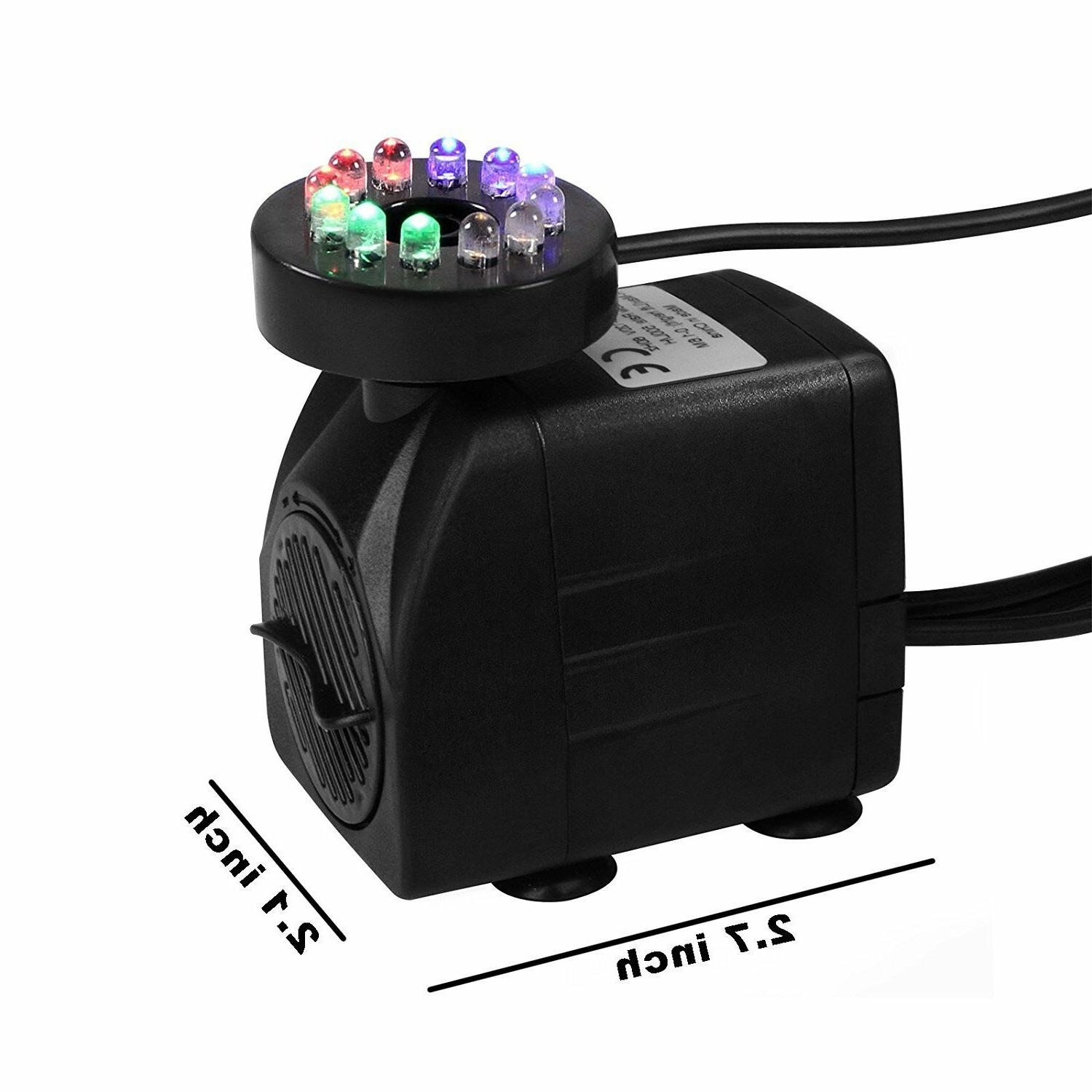 Fountain Water with 12 Light for Tank Aquarium 15W