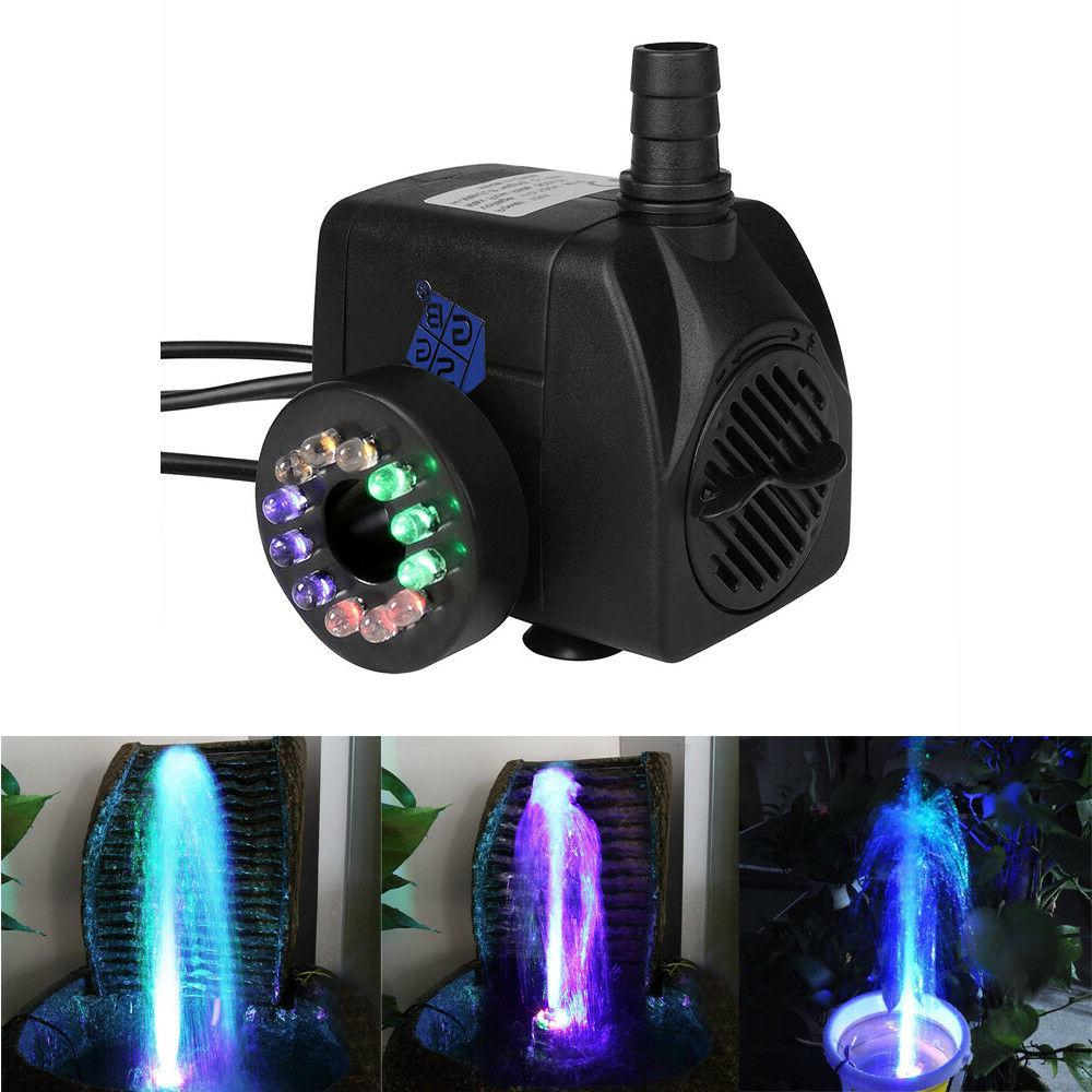 fountain water pump with 12 colorful led