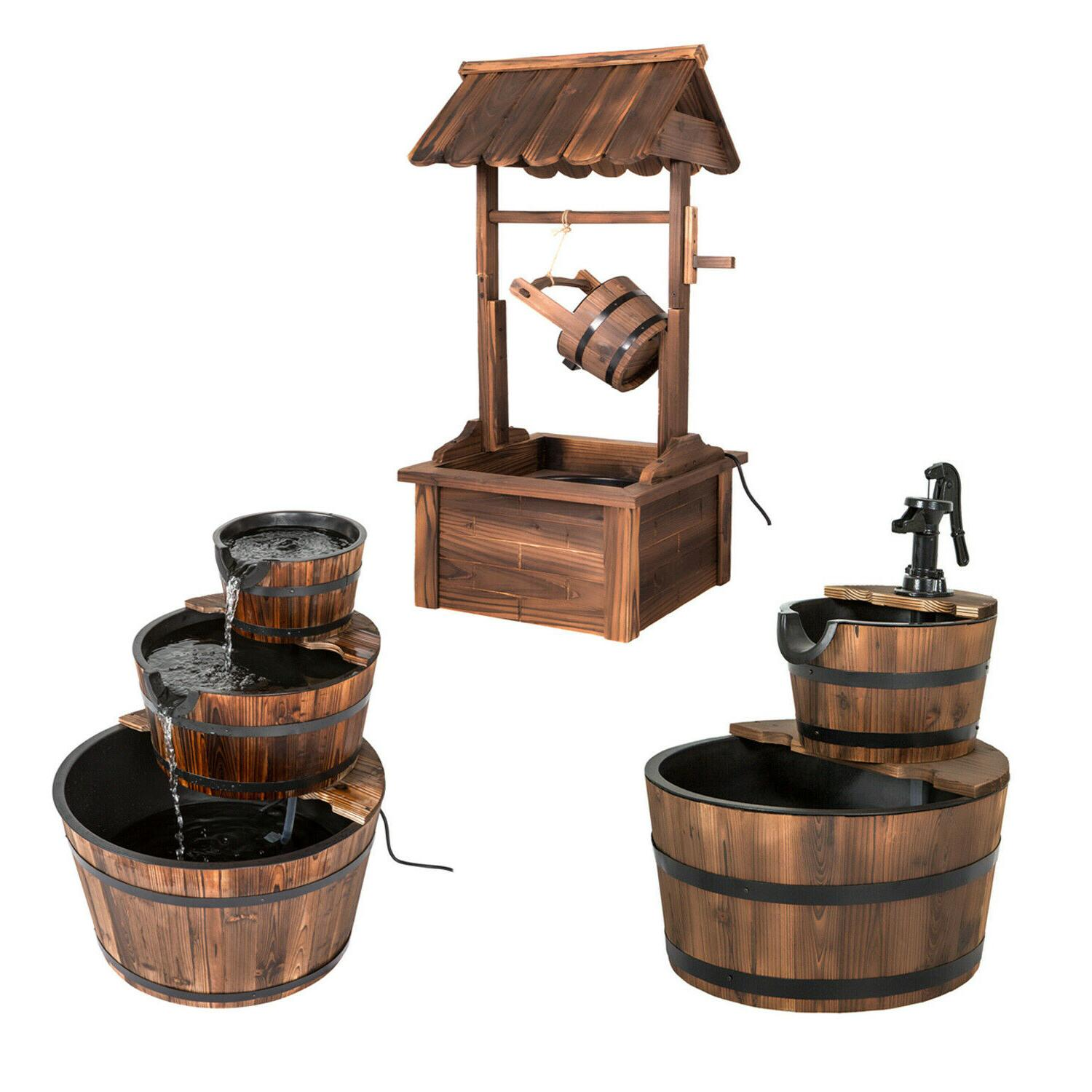 garden barrel wishing well water fountain outdoor