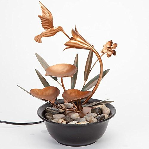 Bits Pieces Indoor Hummingbird Lily Fountain - Tabletop Water Fountain