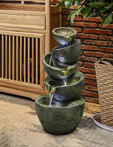 SunJet 23.5 Irregular Five Bowls Shui Outdoor with and Pump, Decorative Waterfall for Garden Deco
