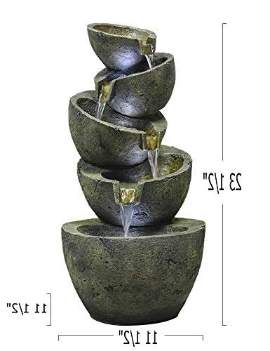 SunJet 23.5 Irregular Five Feng Outdoor Fountain with and Lightweight Decorative Waterfall for Deco