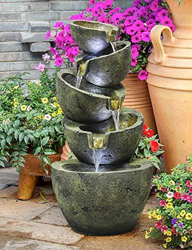 SunJet 23.5 Five Bowls Shui Outdoor with and Pump, Waterfall for Deco H-Bronze