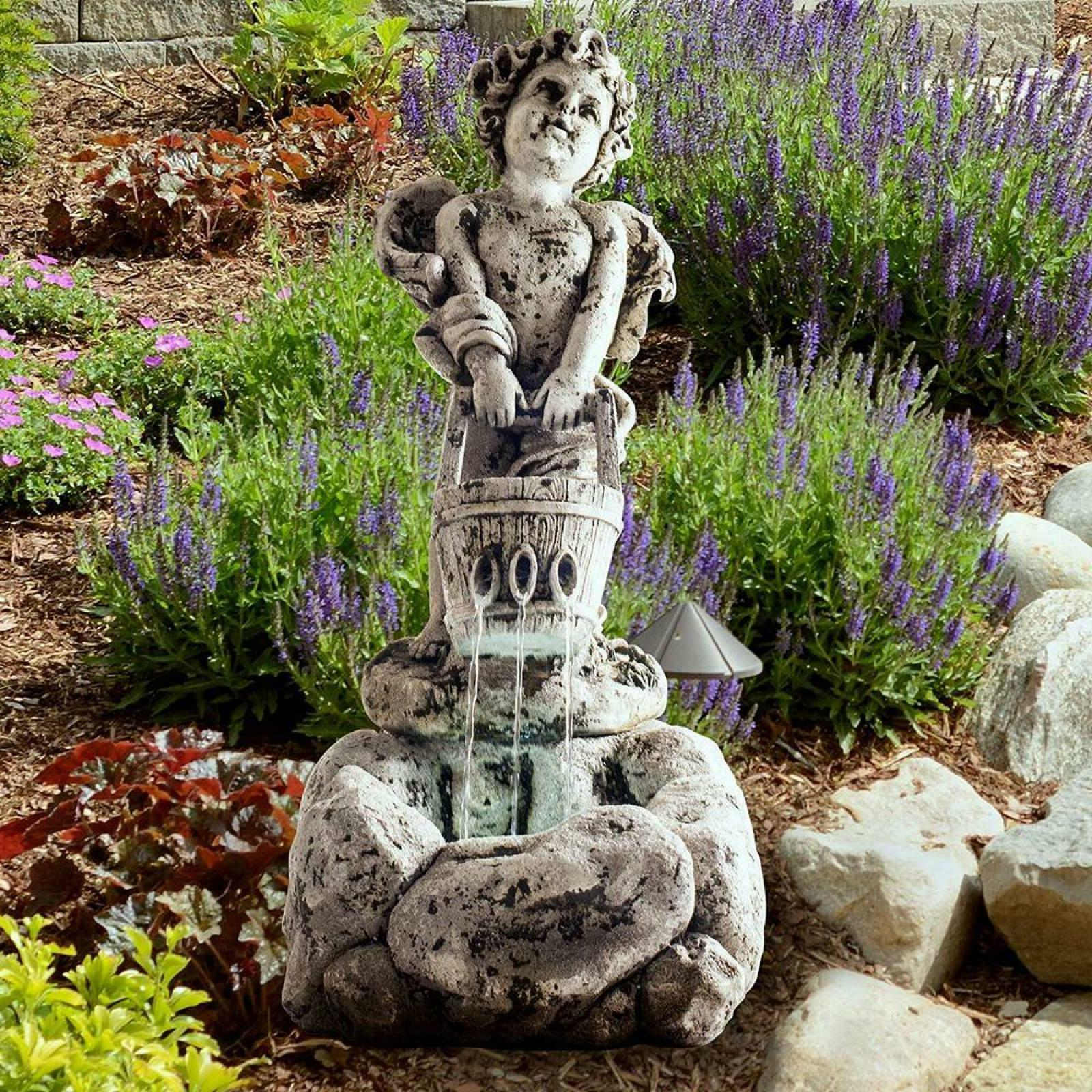 LED Outdoor Cherub Fountain with Focal