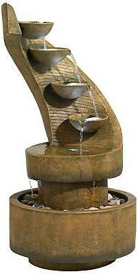 "Modern Curved Cascading Zen 39 1/2""H Fountain with LED Light"