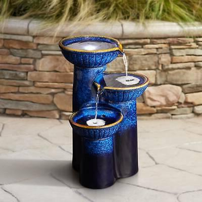 "Modern Outdoor Floor Water Fountain with Light LED 26 3/4"" C"