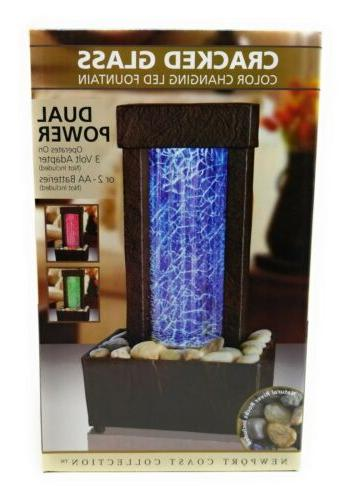 Nature's Cracked Color LED Water Fountain New