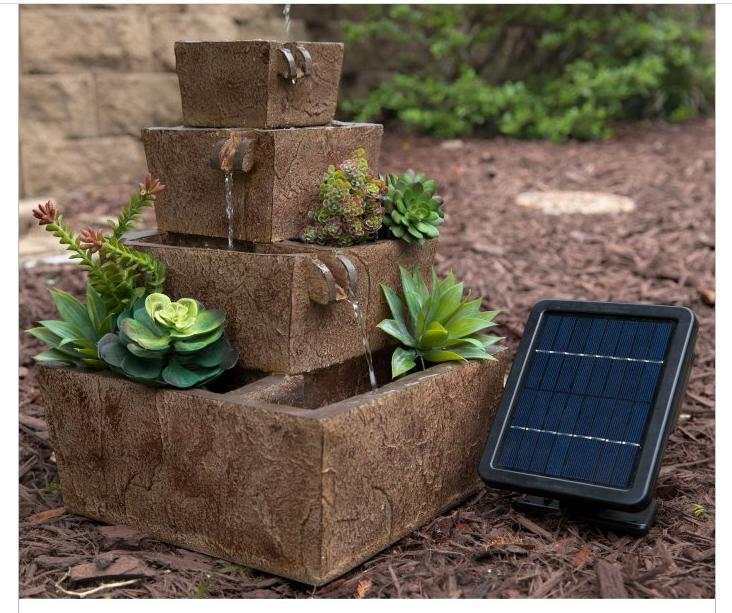 NEW Solar Look Water Fountain Patio Tiered Modern
