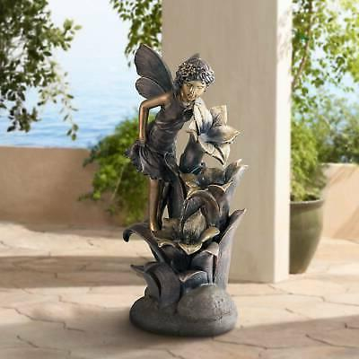 "Outdoor Floor Water Fountain 26"" Cascading Fairy and Flowers"