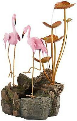 """28 1/4"""" Cascading Leaves Flamingos for Yard"""