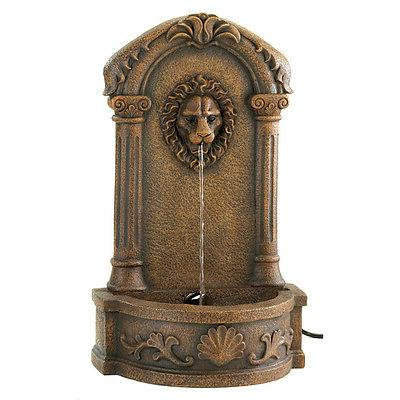 outdoor lion head brown resin patio water