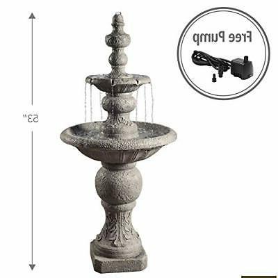 Outdoor Tiered Fountain Cascading Water Large Stone Tall 52 inch