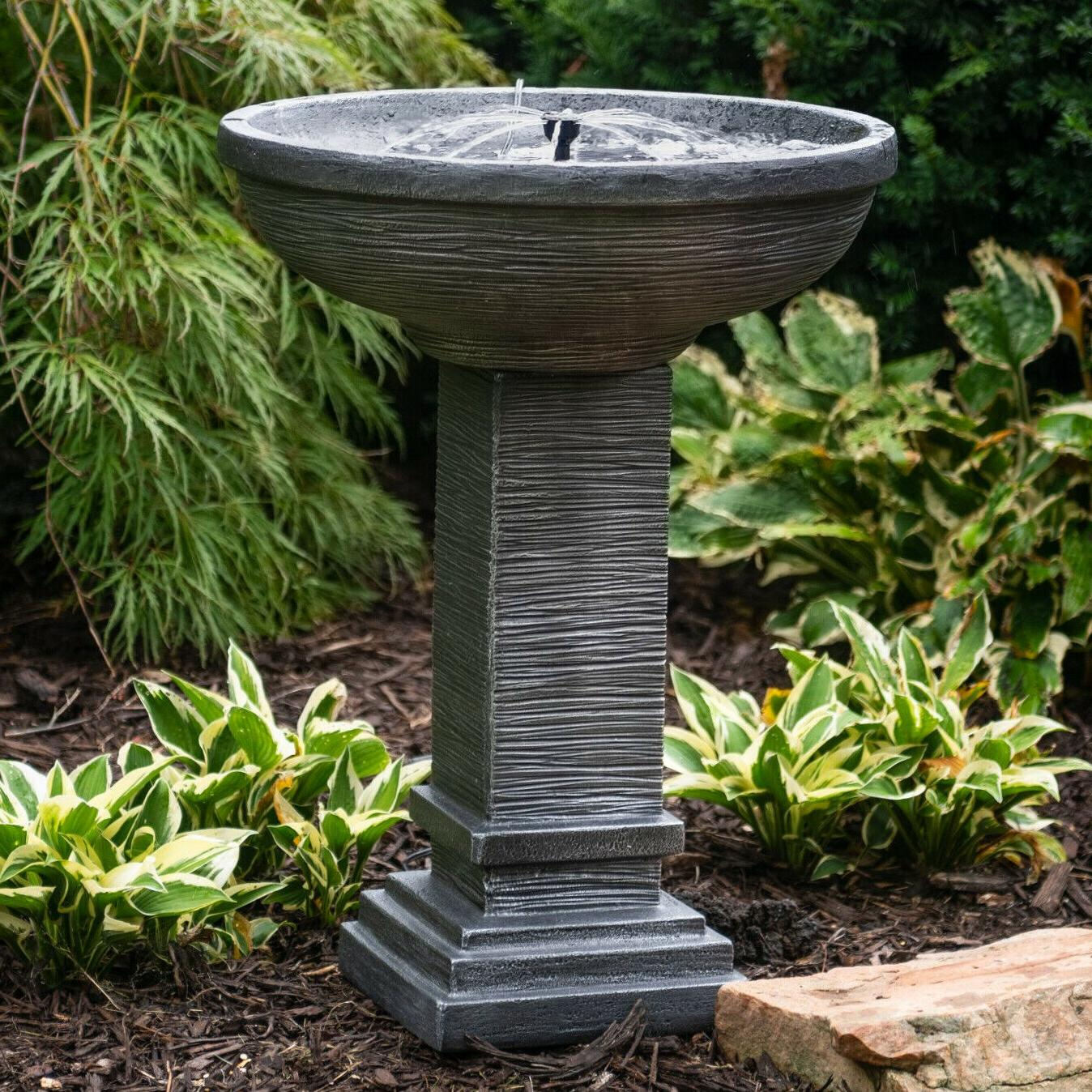 outdoor water fountain cast stone solar on