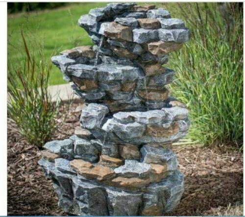 outdoor water fountain light stone 3 tiered