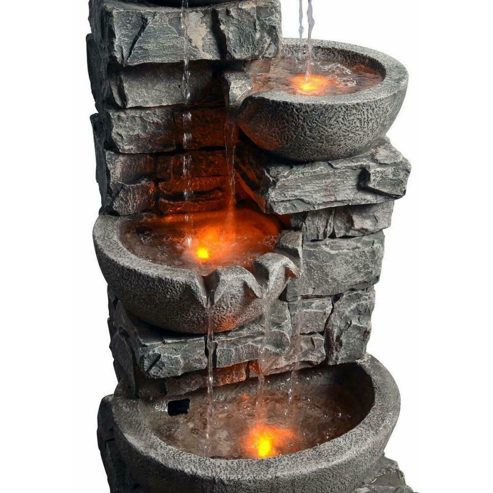 Outdoor Water Fountain Stone Bowls LED Light