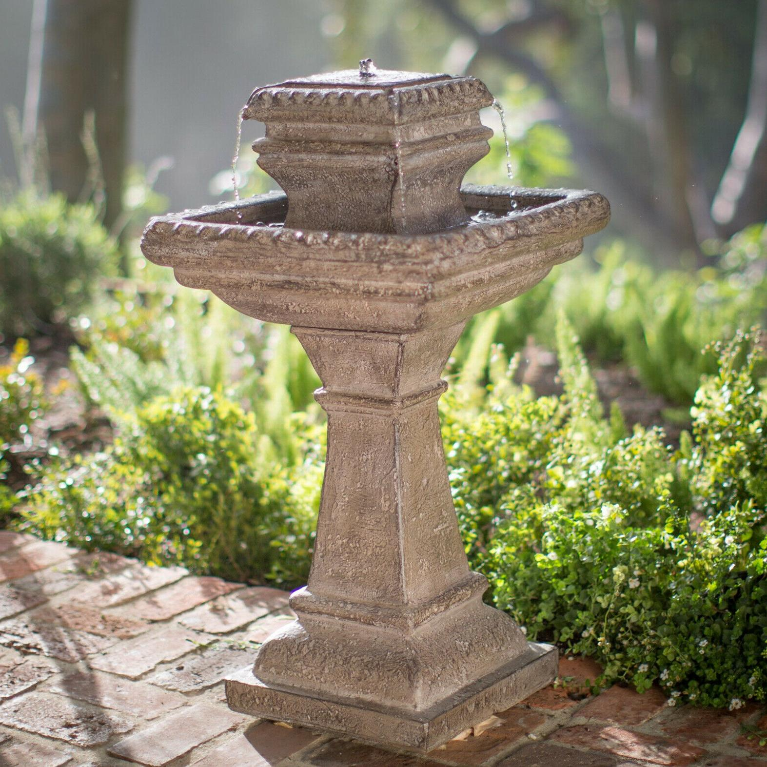 outdoor water fountain tiered stone pedestal 33
