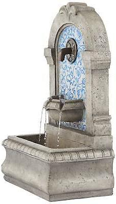 "Outdoor Fountain 30.25"" High and Tile Faux Yard"