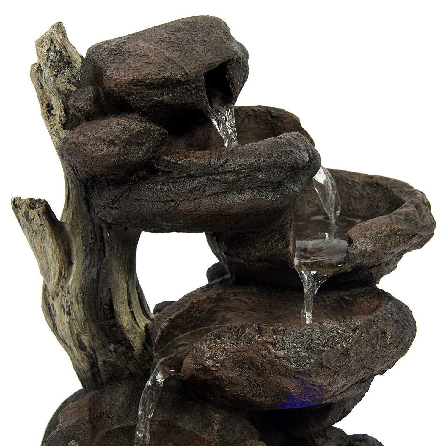 Patio Fountain With Light Water Garden Lawn Yard Decoration