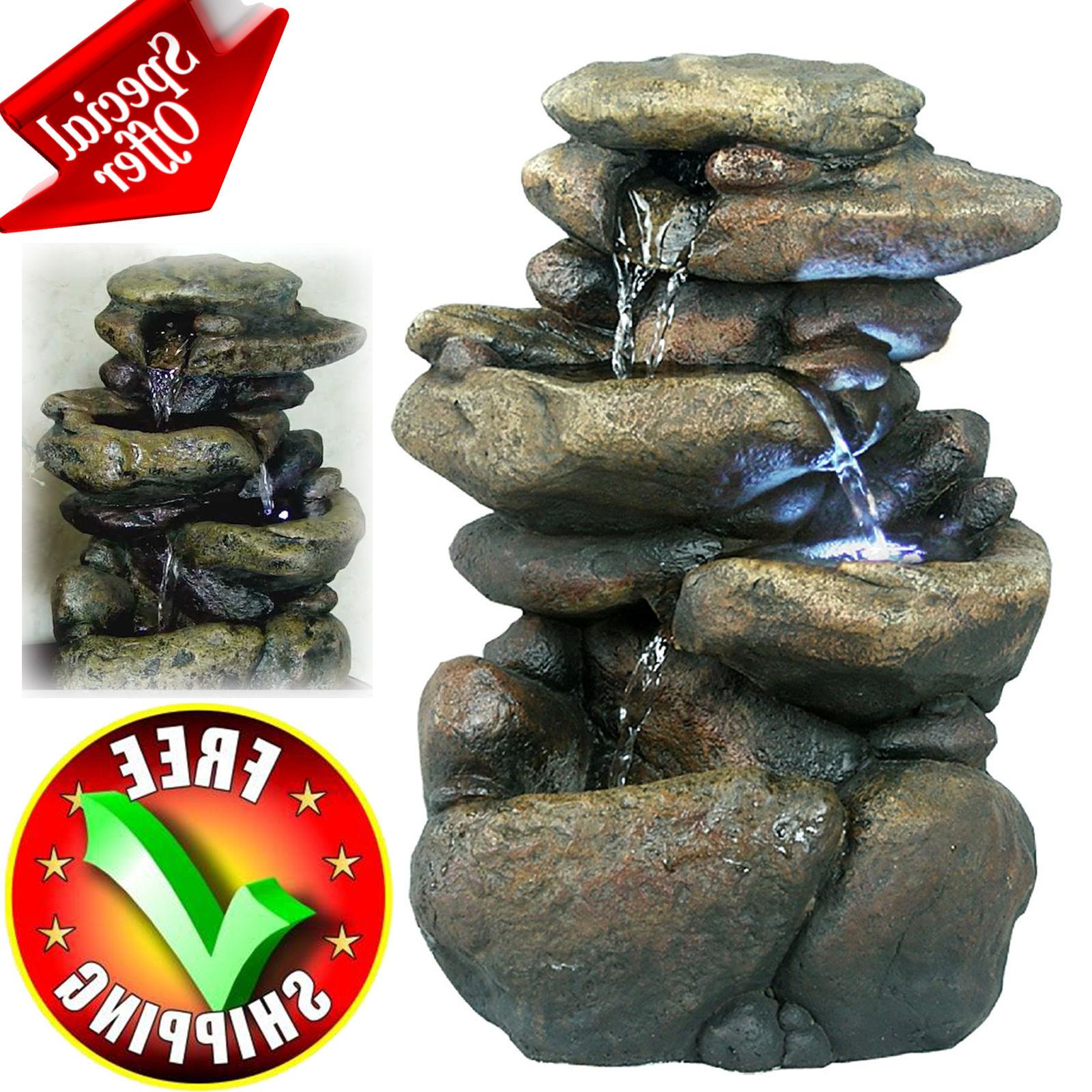 patio fountain with led lights water garden