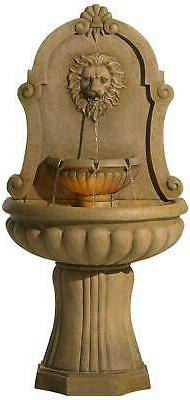 "Roman Outdoor Wall Water Fountain with Light LED 58"" Lion's"
