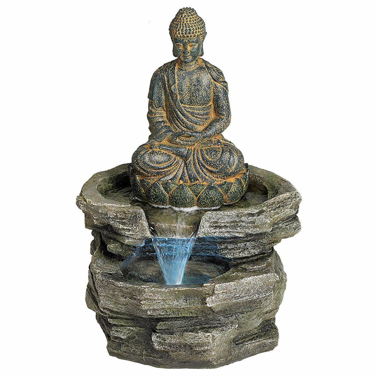 Sitting Rustic Outdoor Floor Fountain with Light LED High