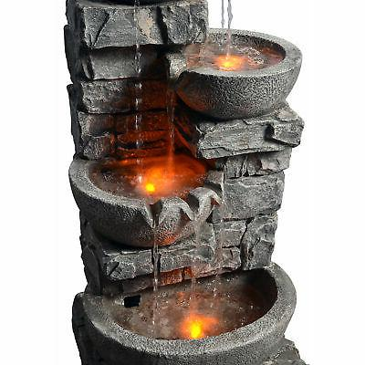 SOLD OUT-Peaktop Stacked Bowls Fountain w/ LED Light