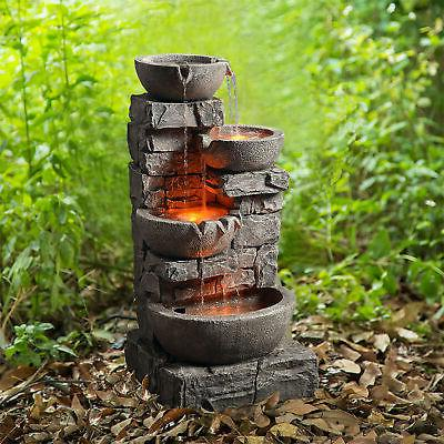 sold out outdoor stacked stone tiered bowls