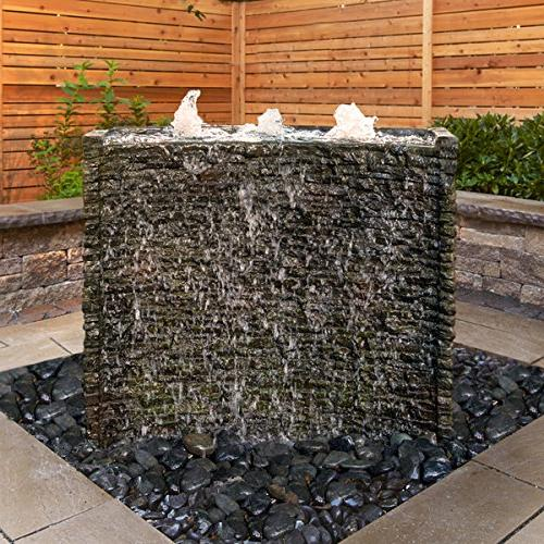 stacked slate spillway wall landscape