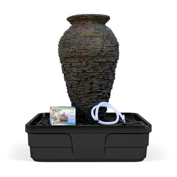 stacked slate urn water fountain