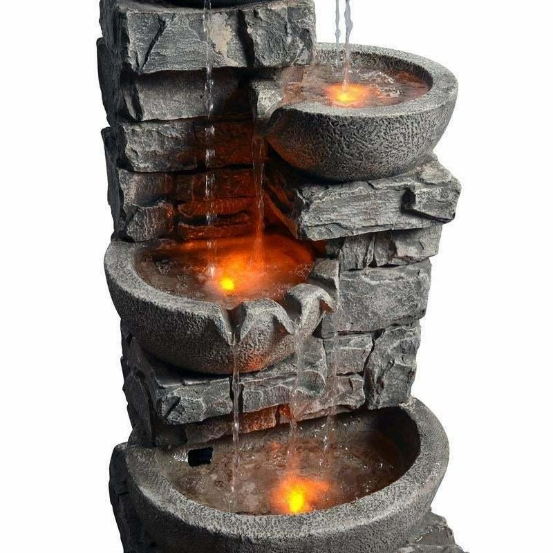 Stacked Outdoor Tiered Bowls LED