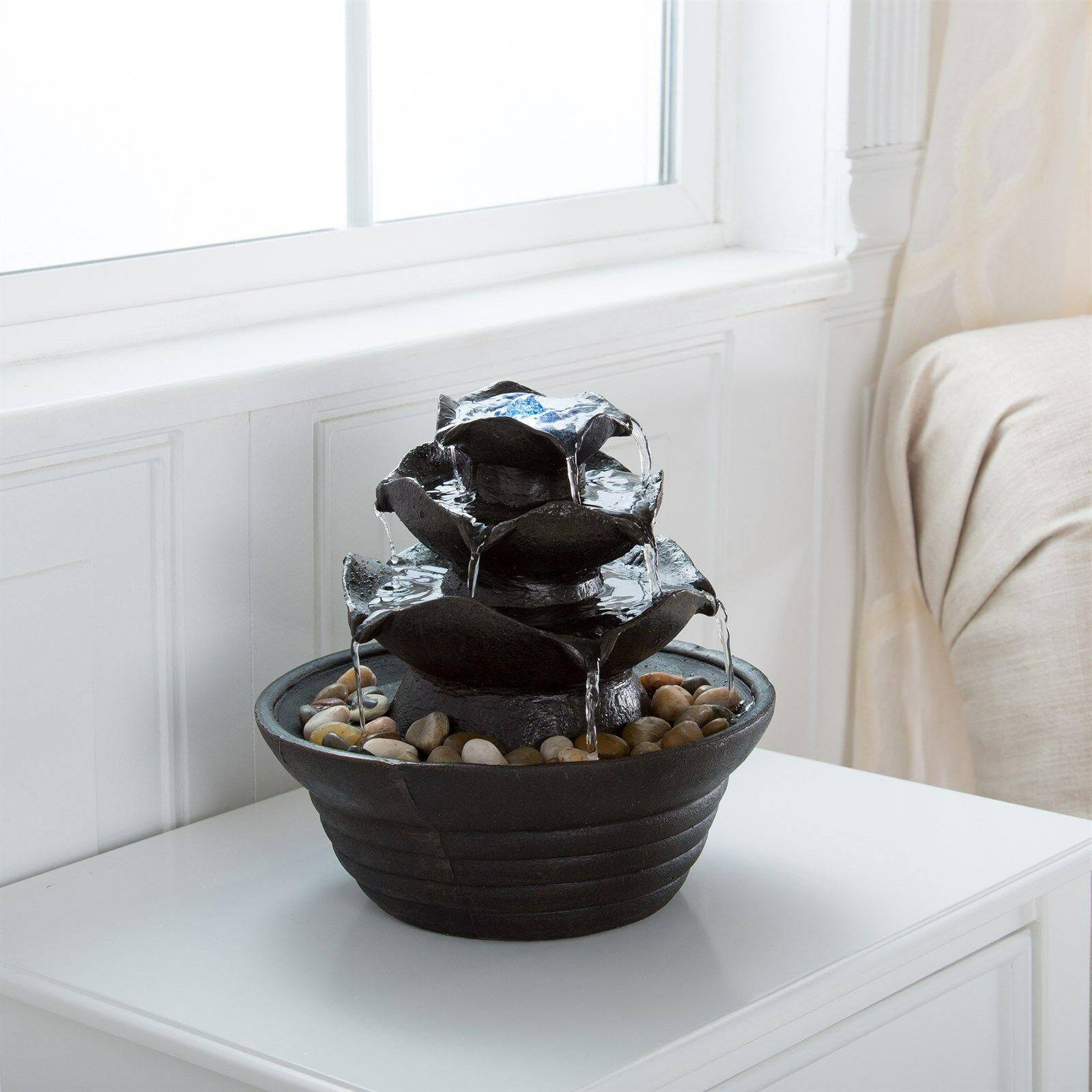 Table Water Fountain 3 Tier Bowls LED