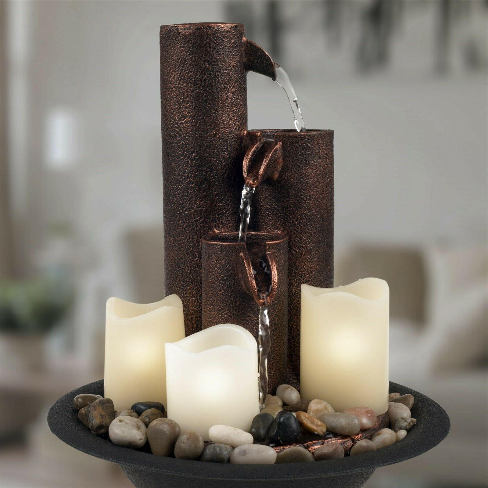 Table Top Pipe Electric Fountain with Candles