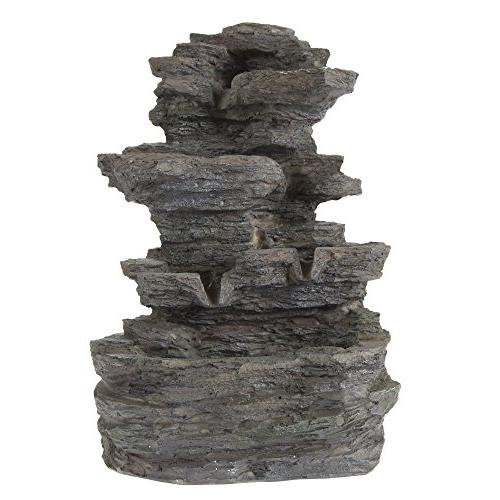 Tabletop Water Cascading Rock LED - Stone Fountain By Pure Garden