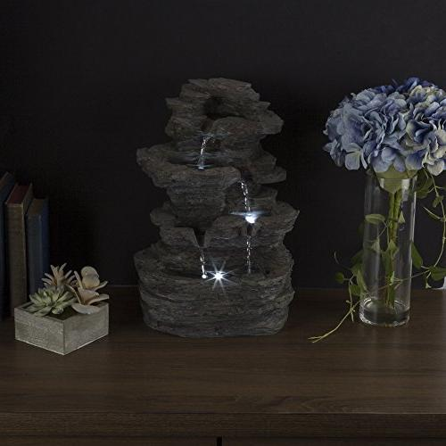 Tabletop Cascading Waterfall LED Lights Stone Pure Garden