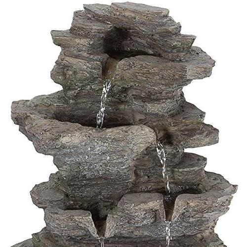 Tabletop Water Cascading Rock and LED Stone Table By Pure Garden