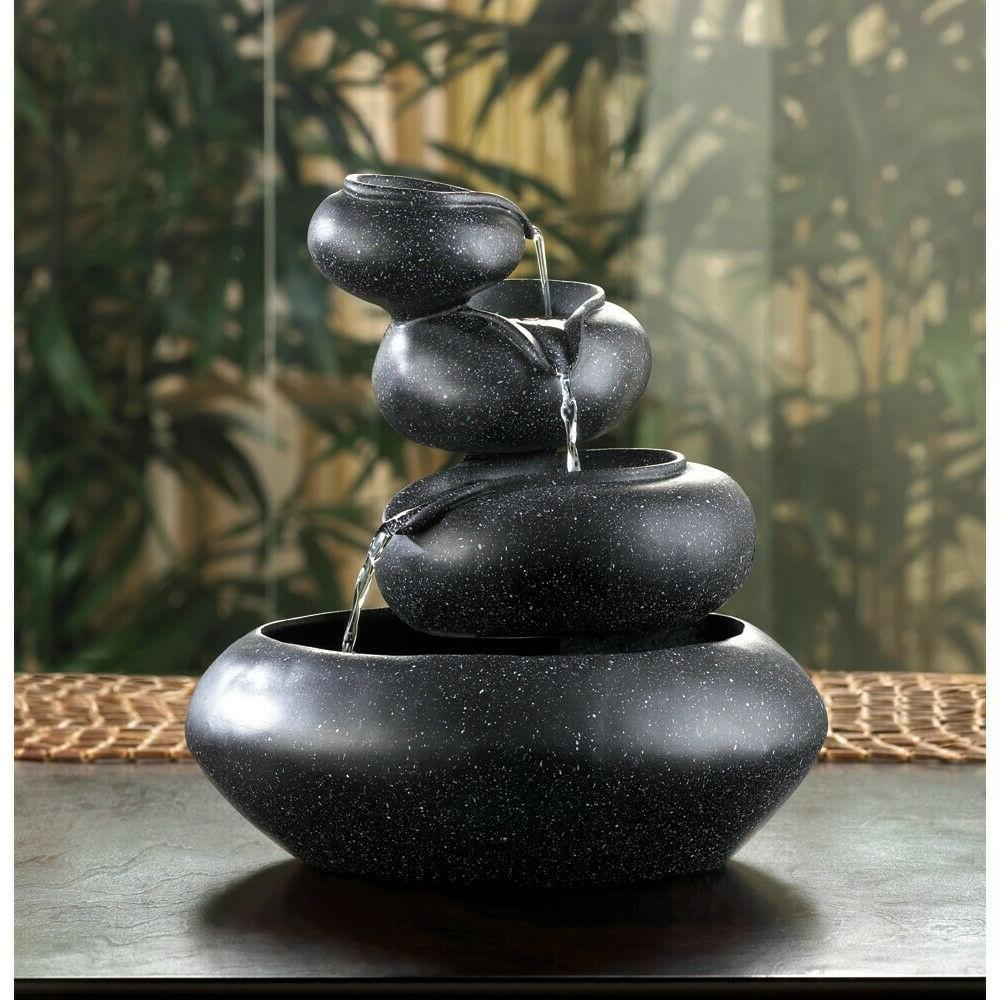 New Tabletop Water Fountain Four Tier Bowl Indoor Decor Flow