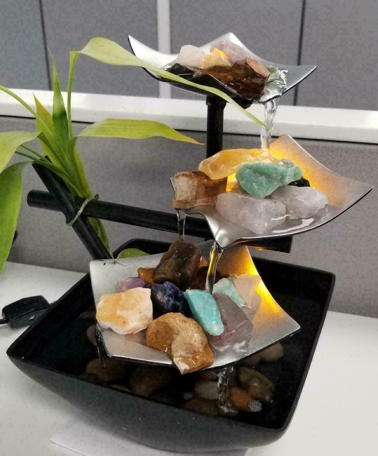 Tabletop Fountain Waterfall Relaxation Spring Garden