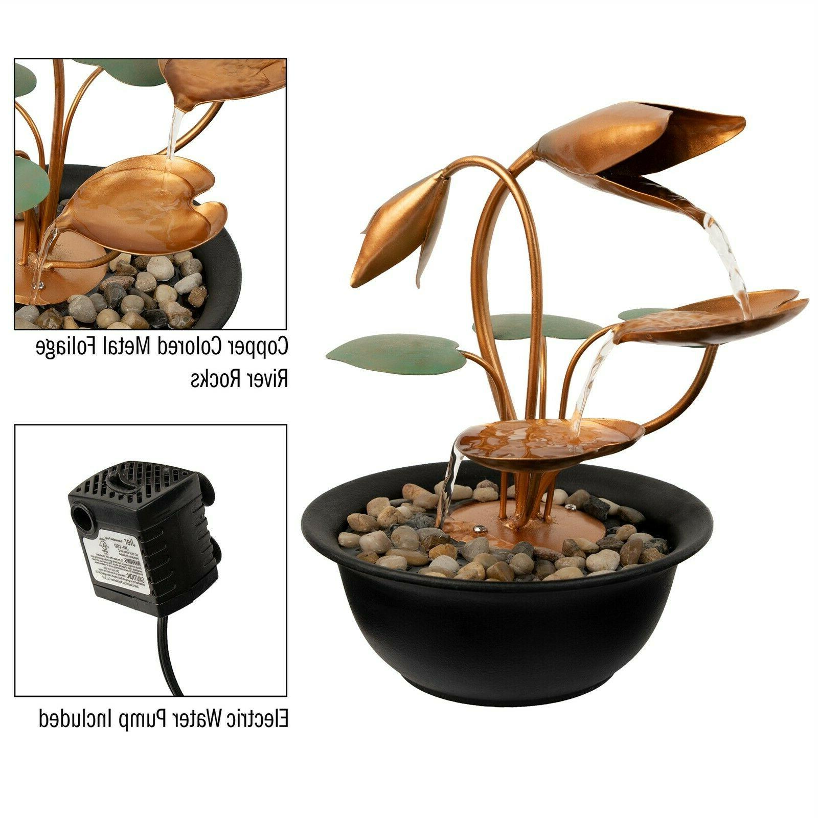 Tabletop Fountain Flowers Soothing Indoor